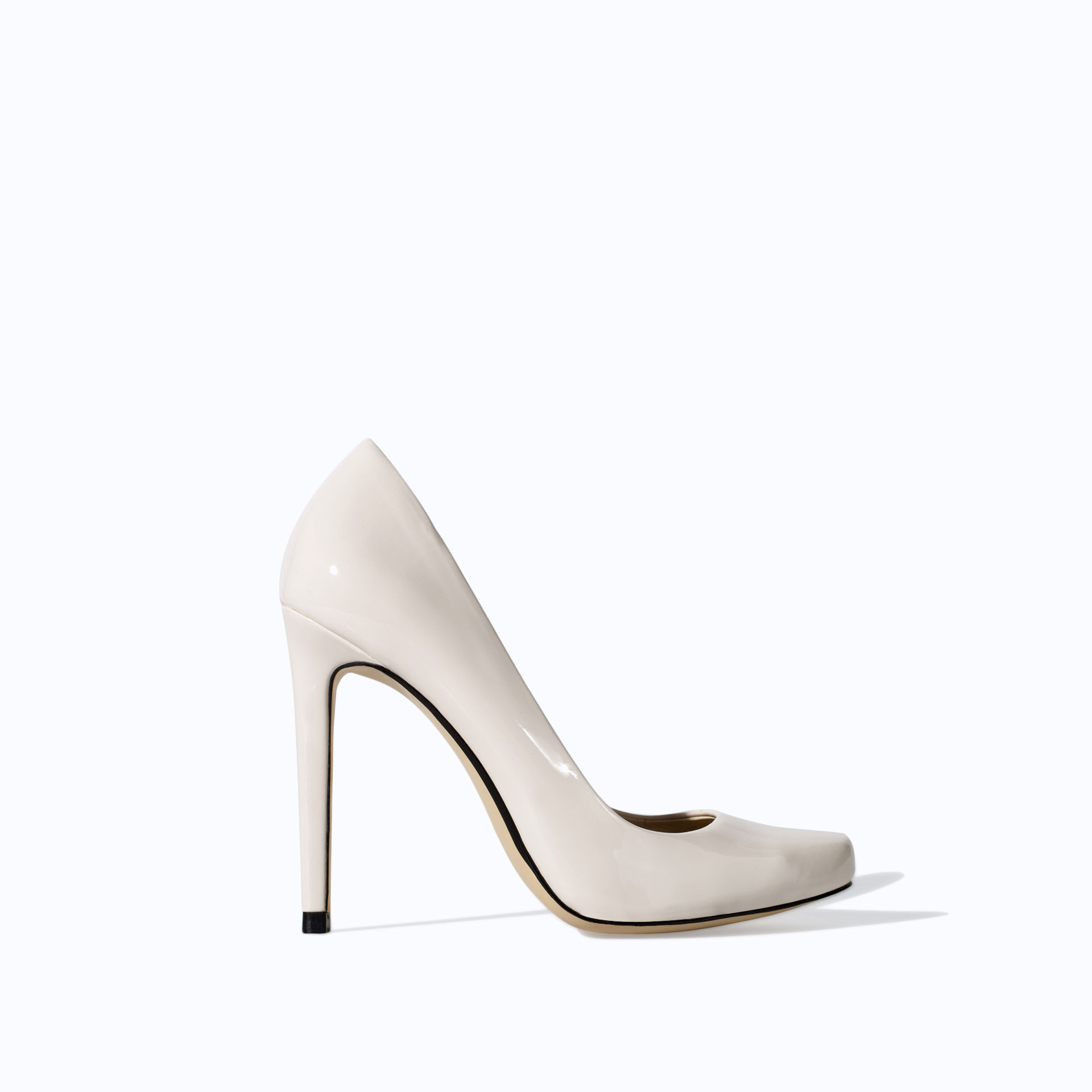 zara synthetic patent leather high heel court shoe in