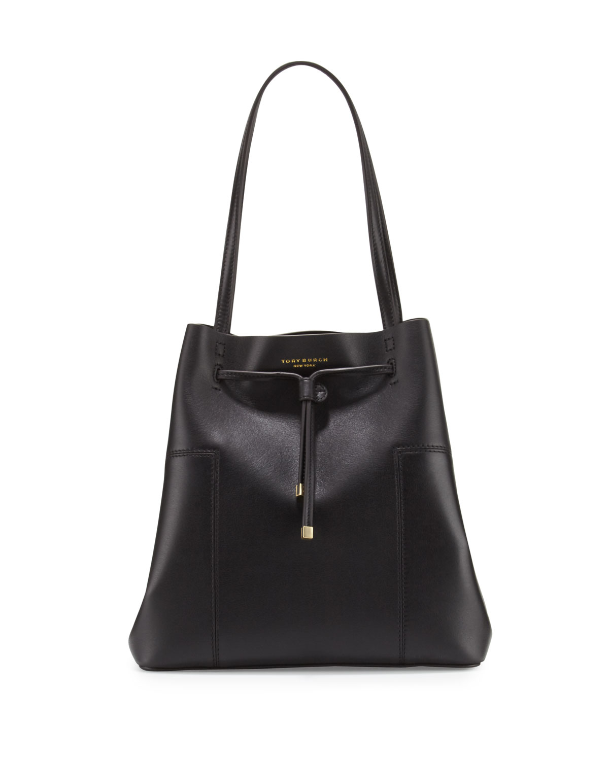 Tory Burch Block T Leather Bucket Tote Bag In Black Lyst