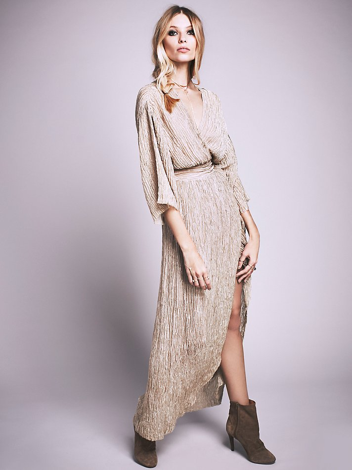 Free People Crinkle Silk Wrap Dress In Brown Lyst