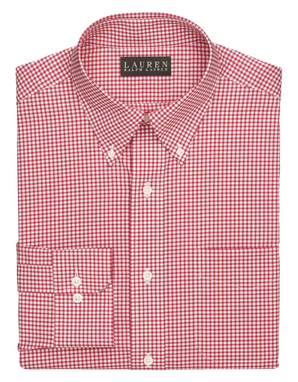 Lyst lauren by ralph lauren non iron check dress shirt for Men s no iron dress shirts
