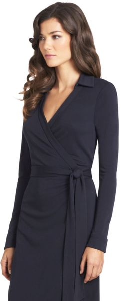 Dvf Black Wrap Dress Jersey Wrap Dress in Black