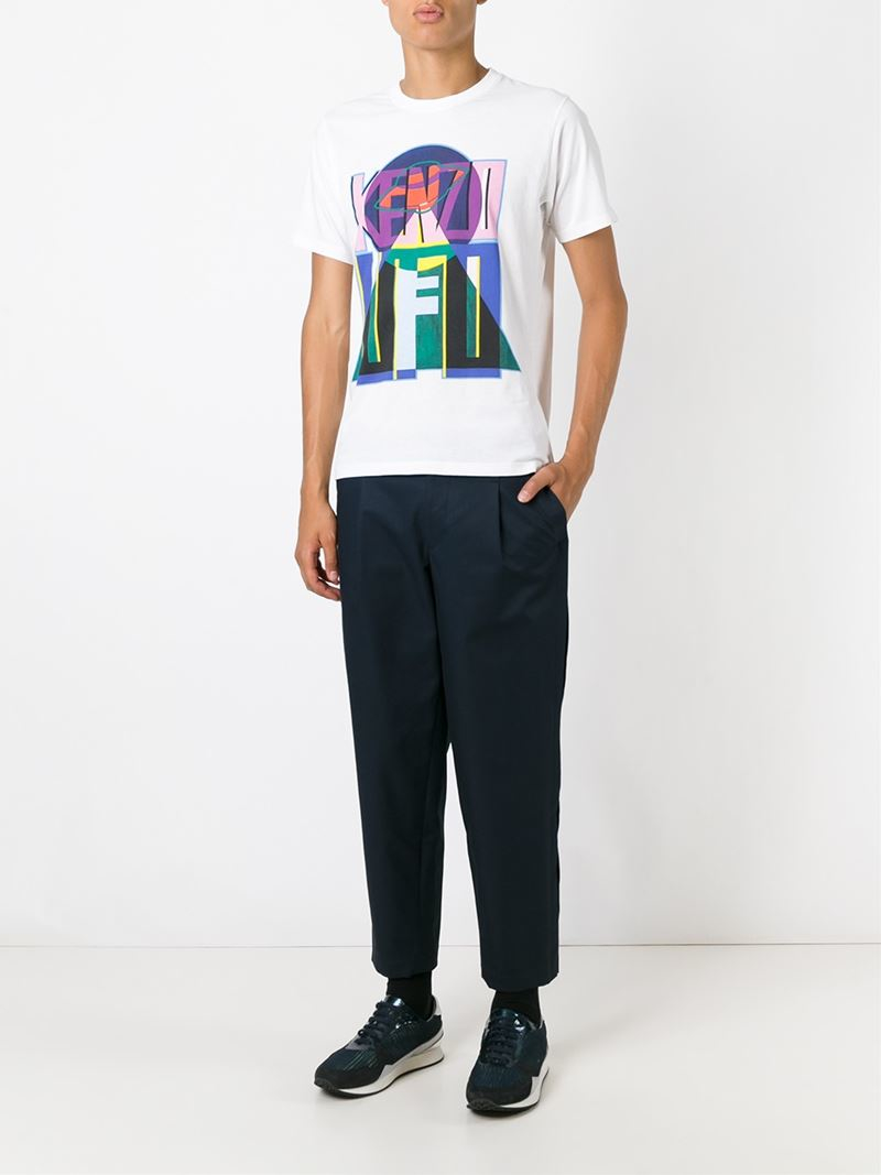 lyst kenzo ufo print t shirt in white for men. Black Bedroom Furniture Sets. Home Design Ideas
