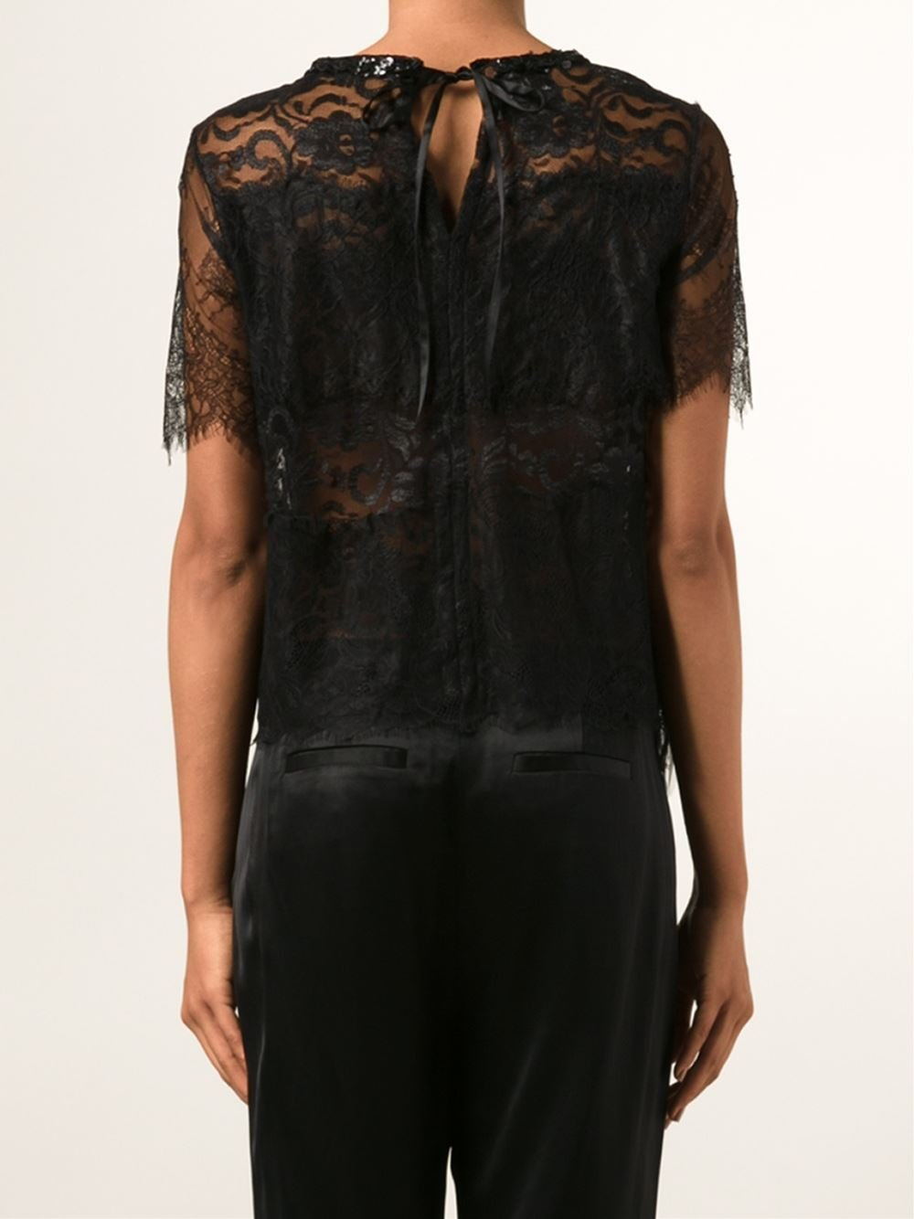 Loyd/Ford Beaded Lace Top in Black