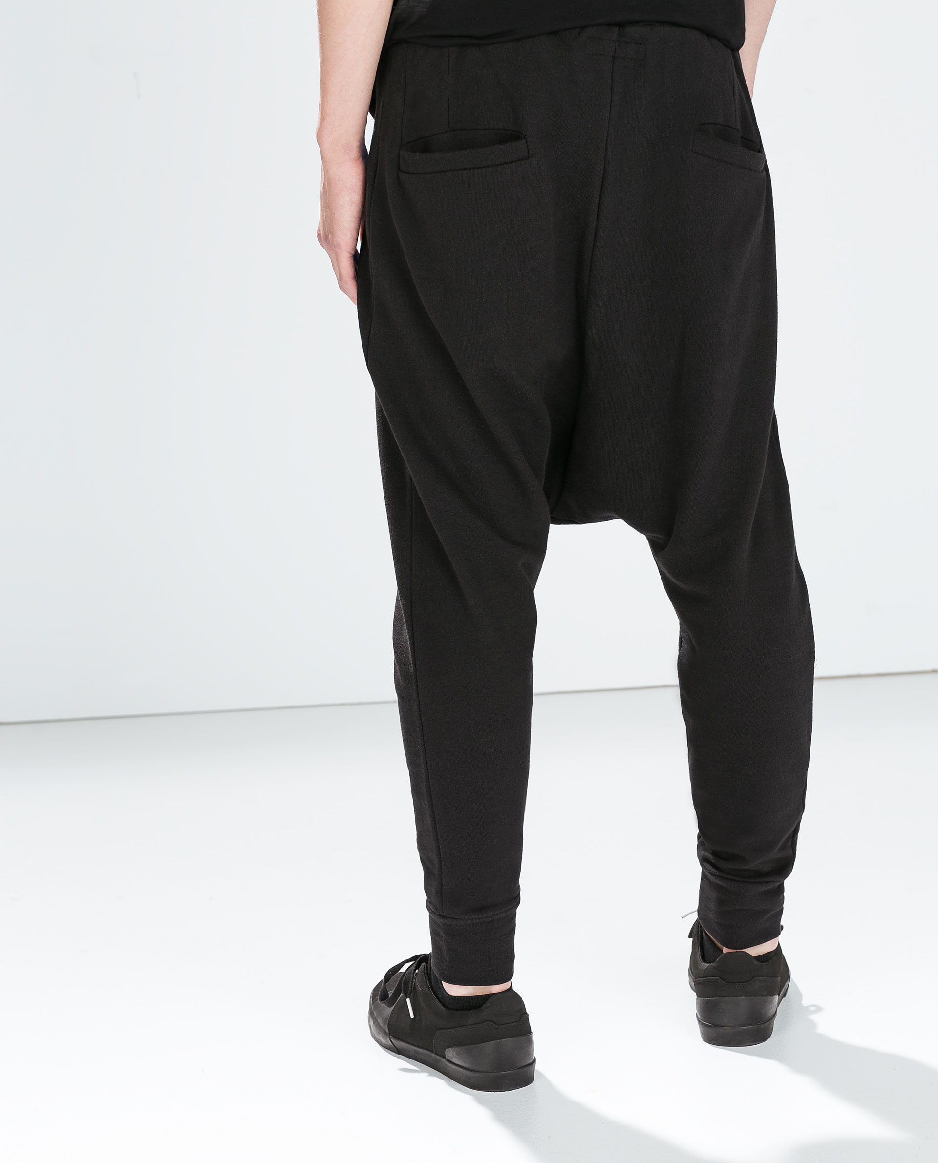 zara baggy trousers with zips in black for lyst