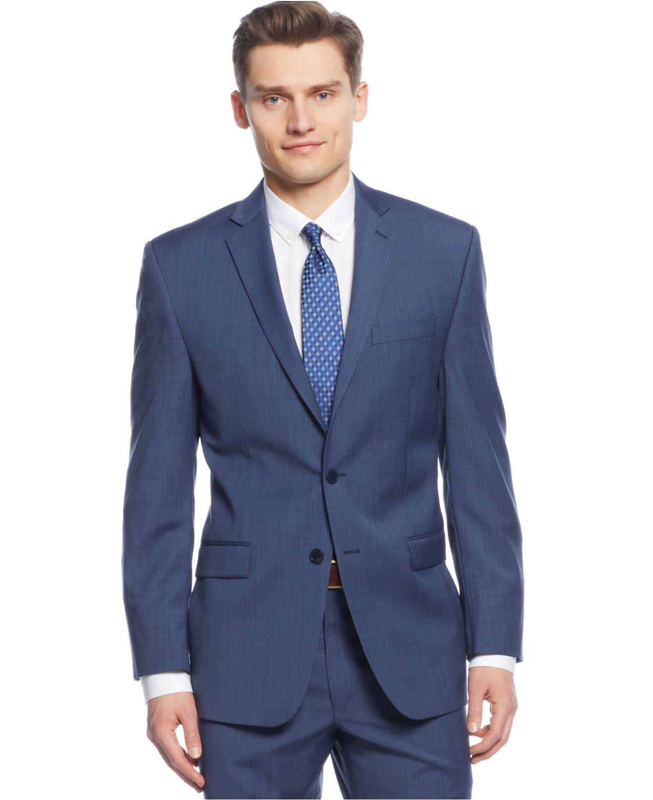 Calvin klein Medium Blue Texture Slim-fit Suit in Blue for Men | Lyst