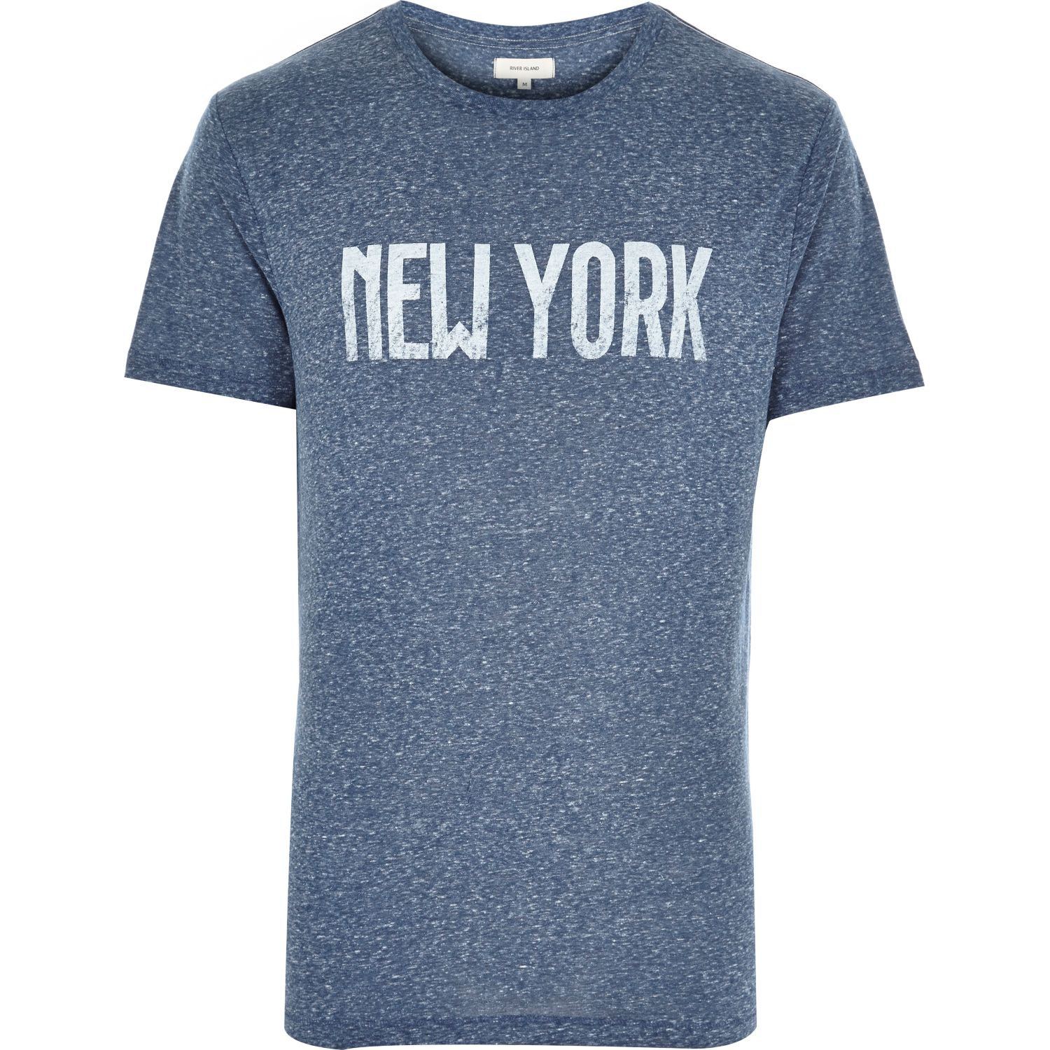 River island blue marl new york print t shirt in blue for for New york printed t shirts
