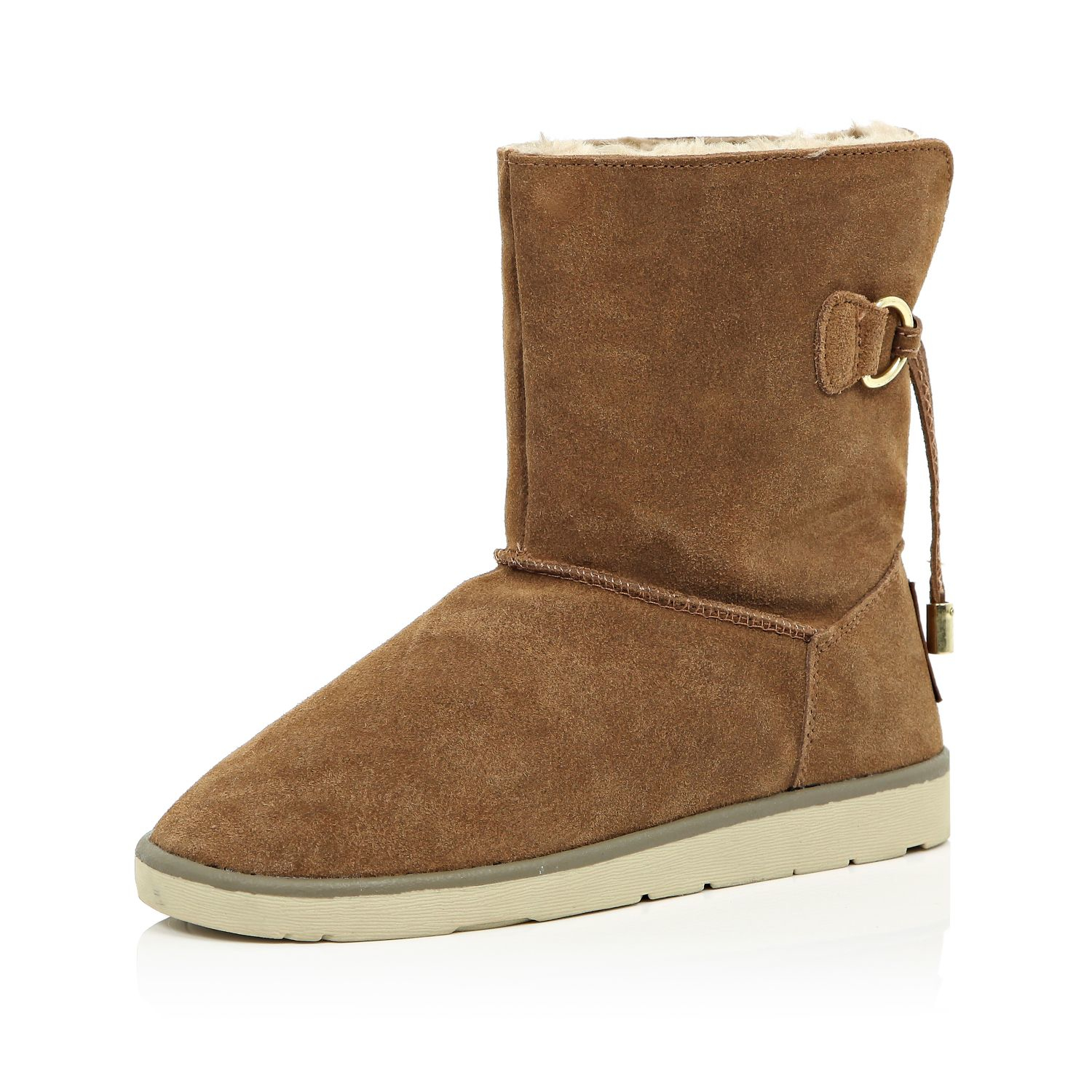 River Island Brown Suede Faux Fur Lined Ankle Boots Lyst