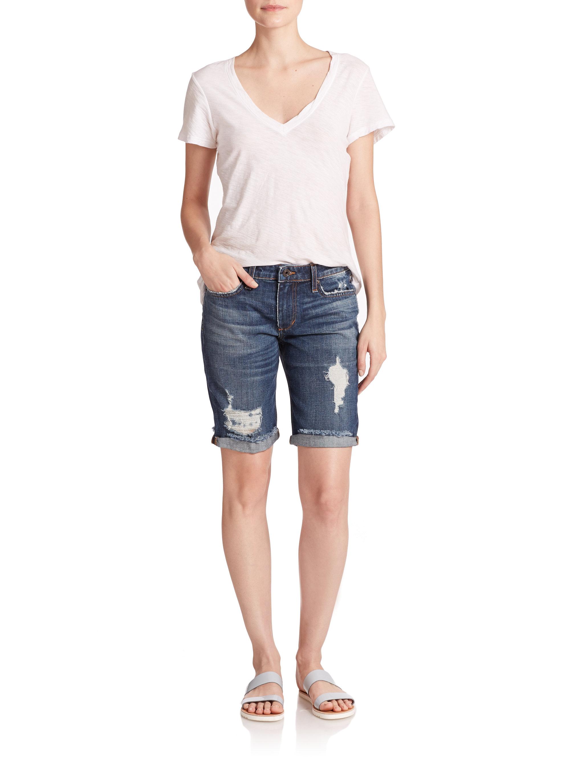 Lyst Joe S Jeans Meeka Distressed Denim Bermuda Shorts
