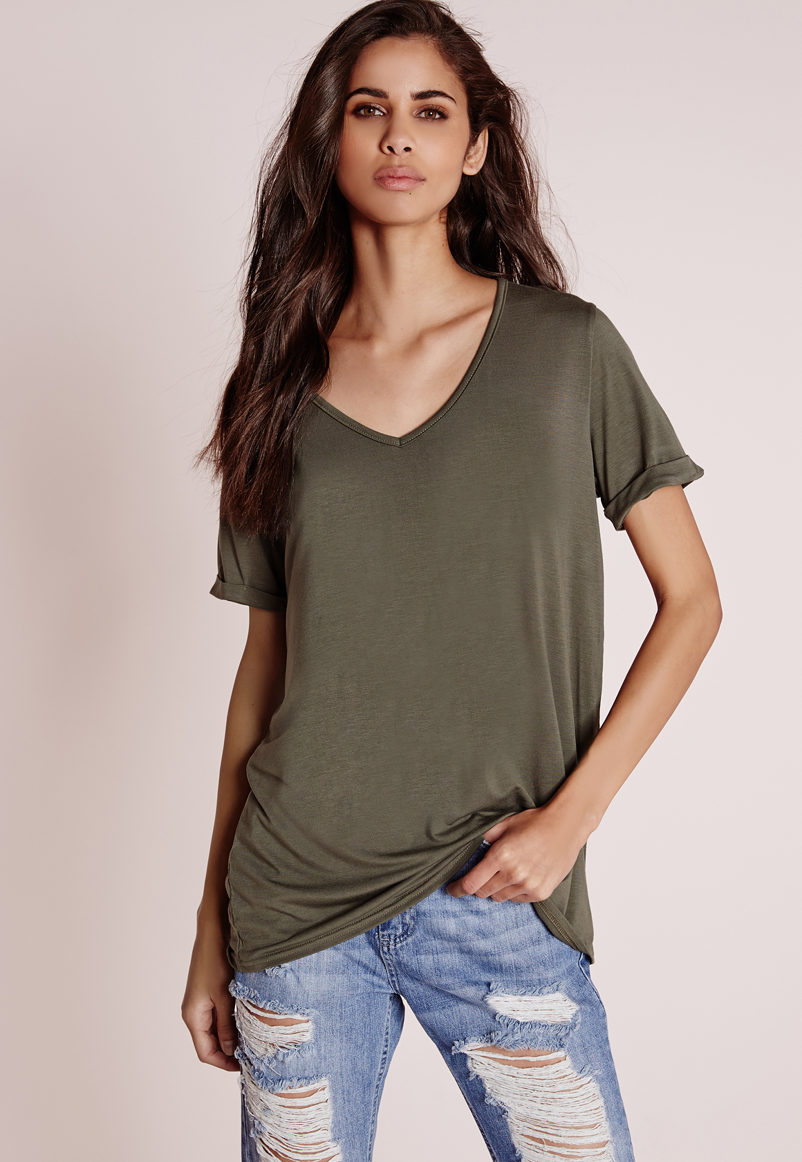 Missguided tall boyfriend v neck t shirt khaki in natural for Womens tall v neck t shirts