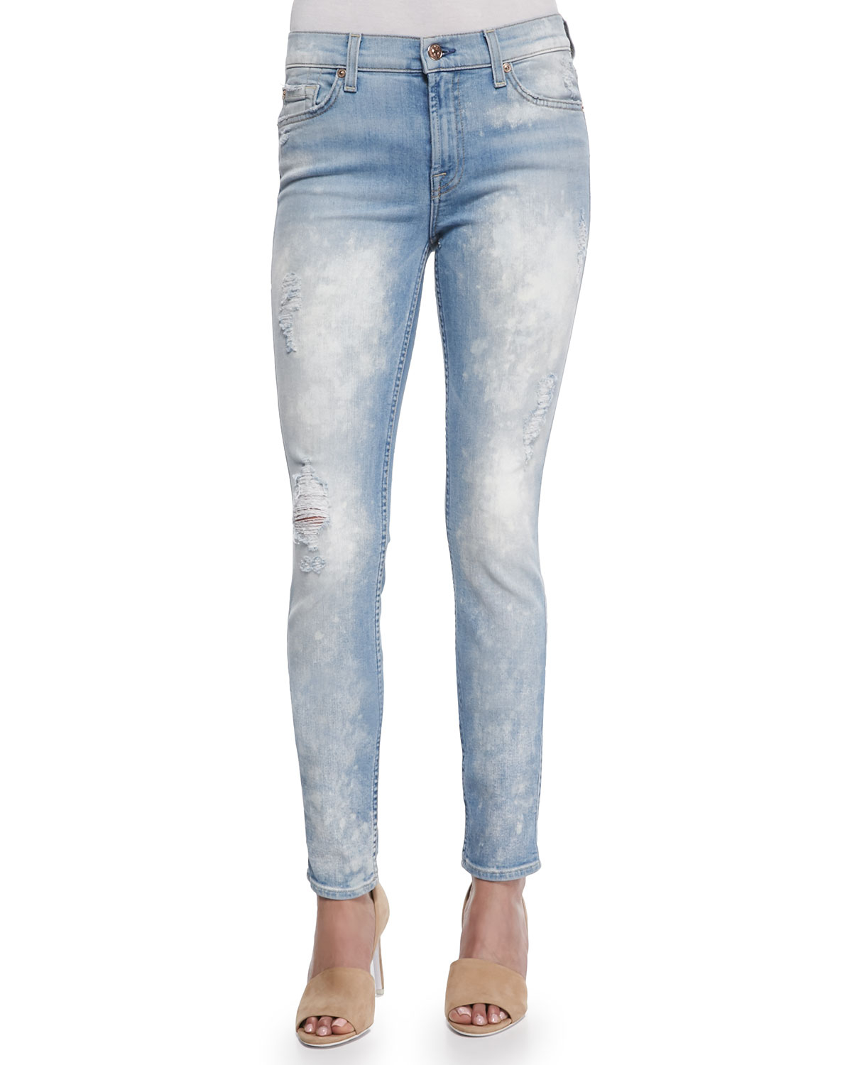 Darkwash bleached Aiko Flap Skinny jeans from Silver Jeans in a size 28 x These jeans are in great condition with light wear, and feature embroidered and stitch detailing. They are made of 78% cot CAbi Womens Constellation Skinny Jeans Acid Wash Bleach Splatter Size