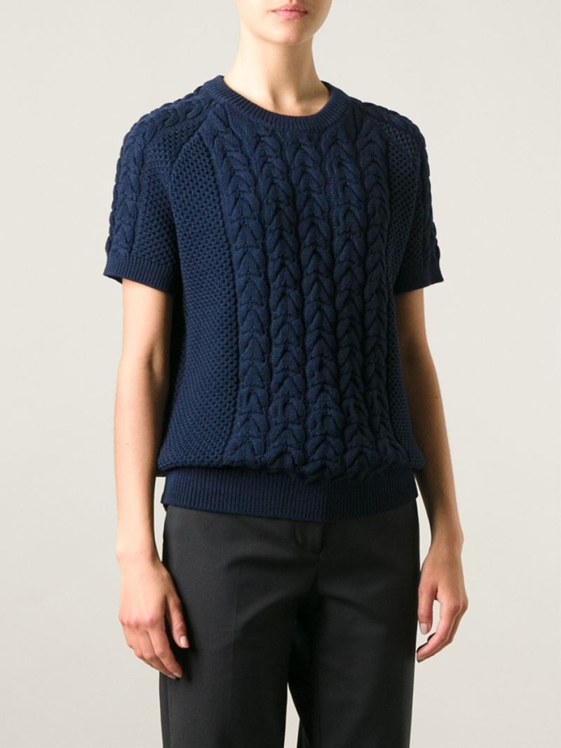 Joseph Short Sleeve Cable Knit Sweater in Blue | Lyst