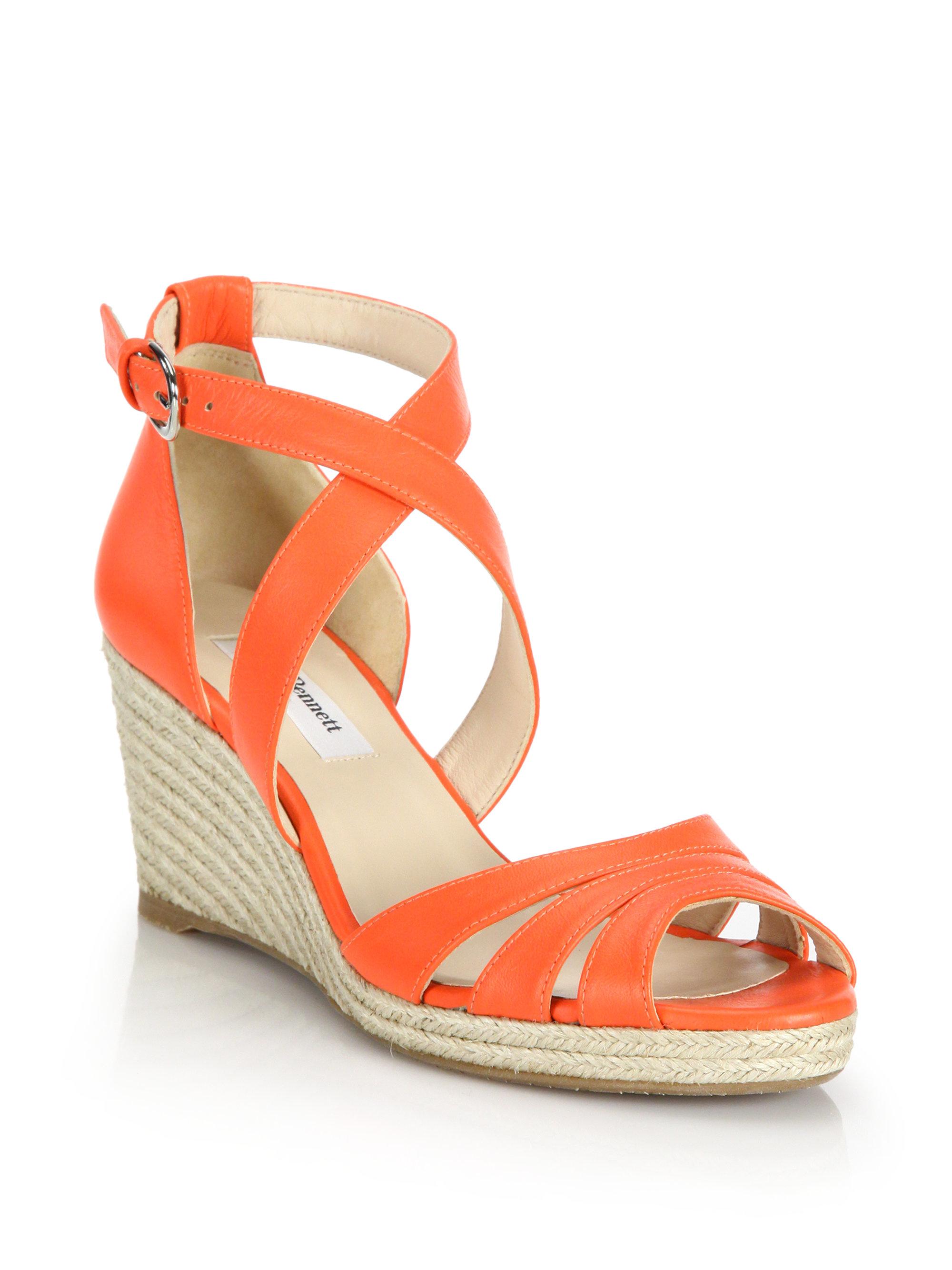 318a1180a3d L.K.Bennett Orange Priya Leather Espadrille Wedge Sandals