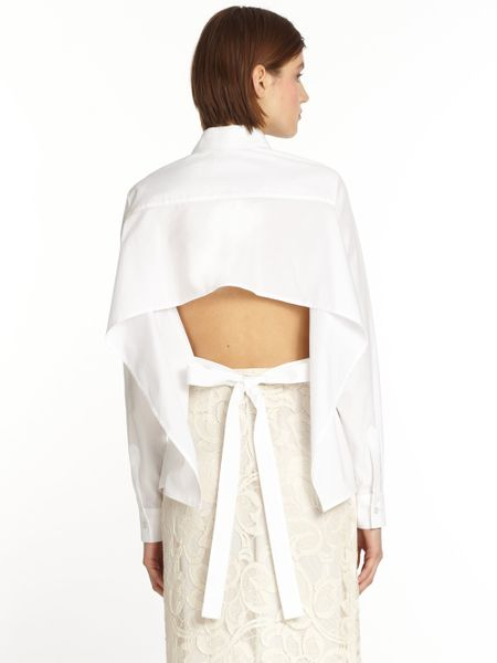 Tome tieback shirt in white lyst for How to make a tie back shirt