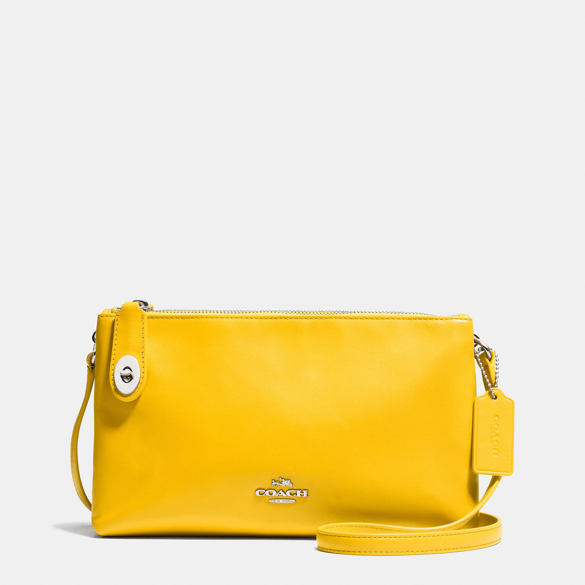 Lyst Coach Crosby Leather Cross Body Bag In Yellow