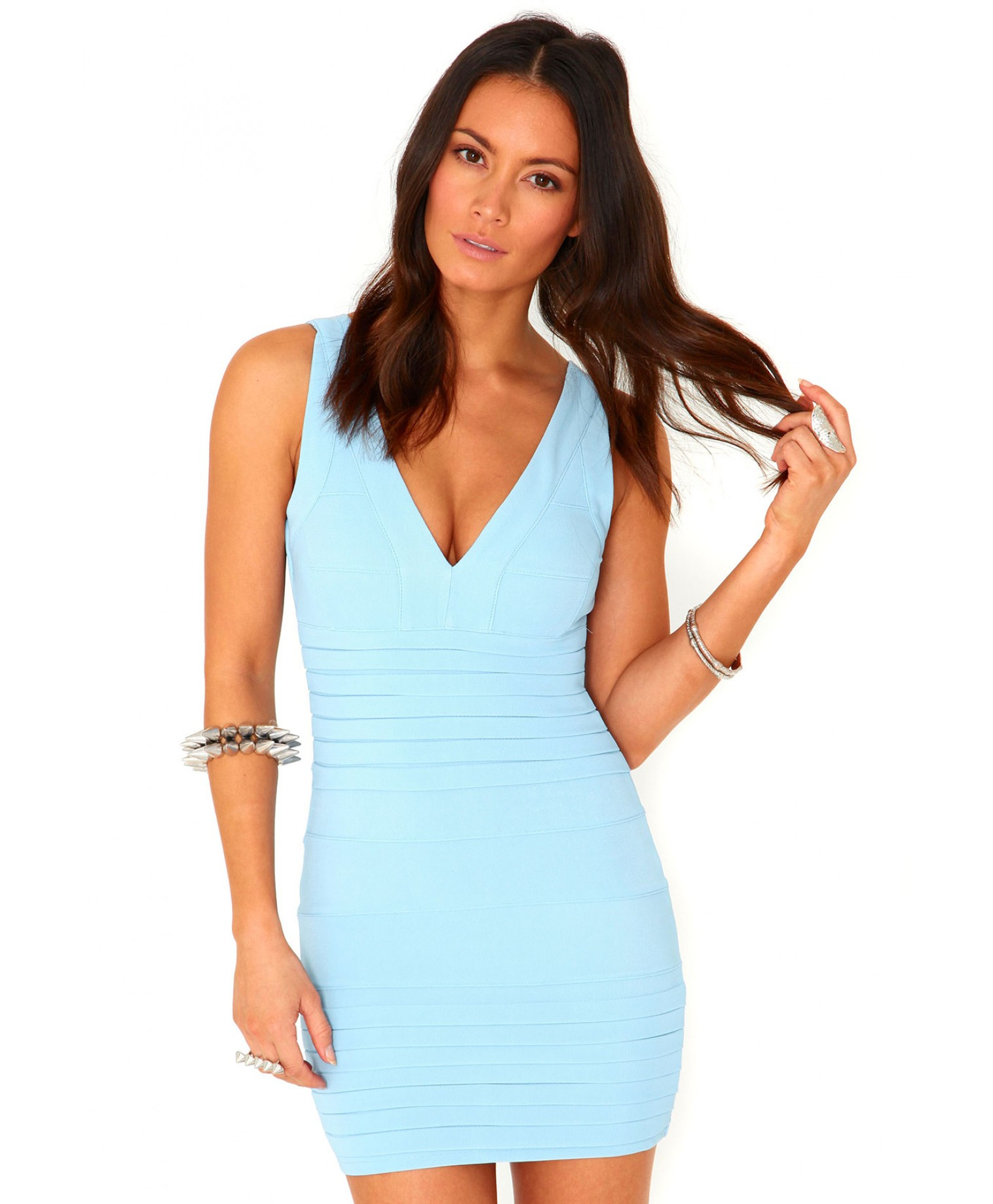 Missguided Leena Bandage Bodycon Dress In Baby Blue in ...