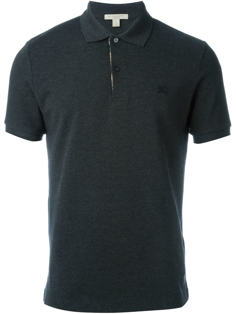 Burberry Embroidered Logo Polo Shirt In Black For Men