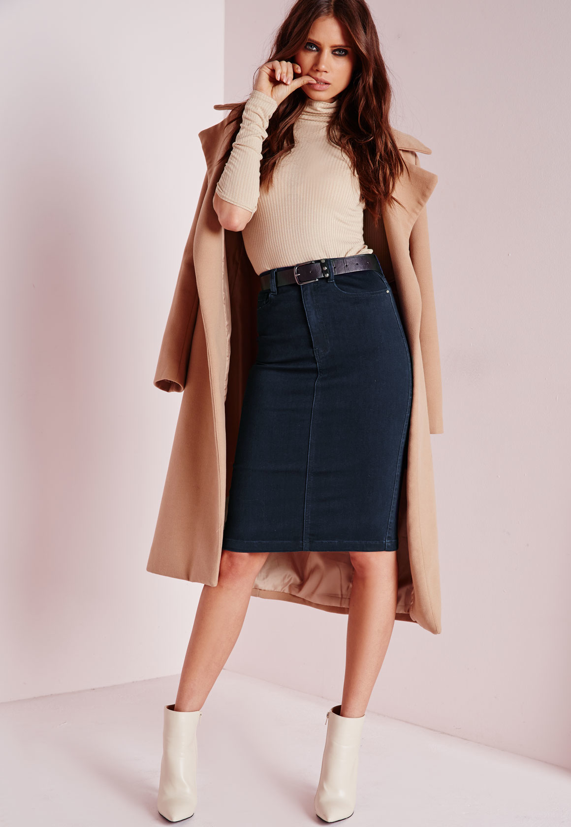 Missguided Petite High Waisted Midi Denim Skirt Indigo in Blue | Lyst