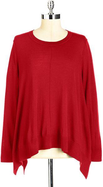Dkny Sharkbite Wool Sweater in Red