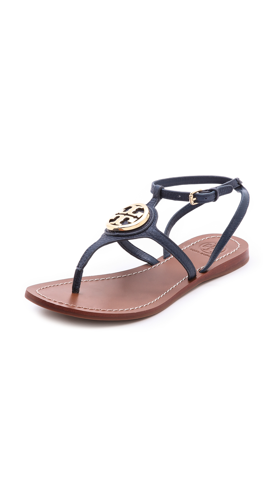 tory burch leticia flat thong sandals tan in blue lyst. Black Bedroom Furniture Sets. Home Design Ideas