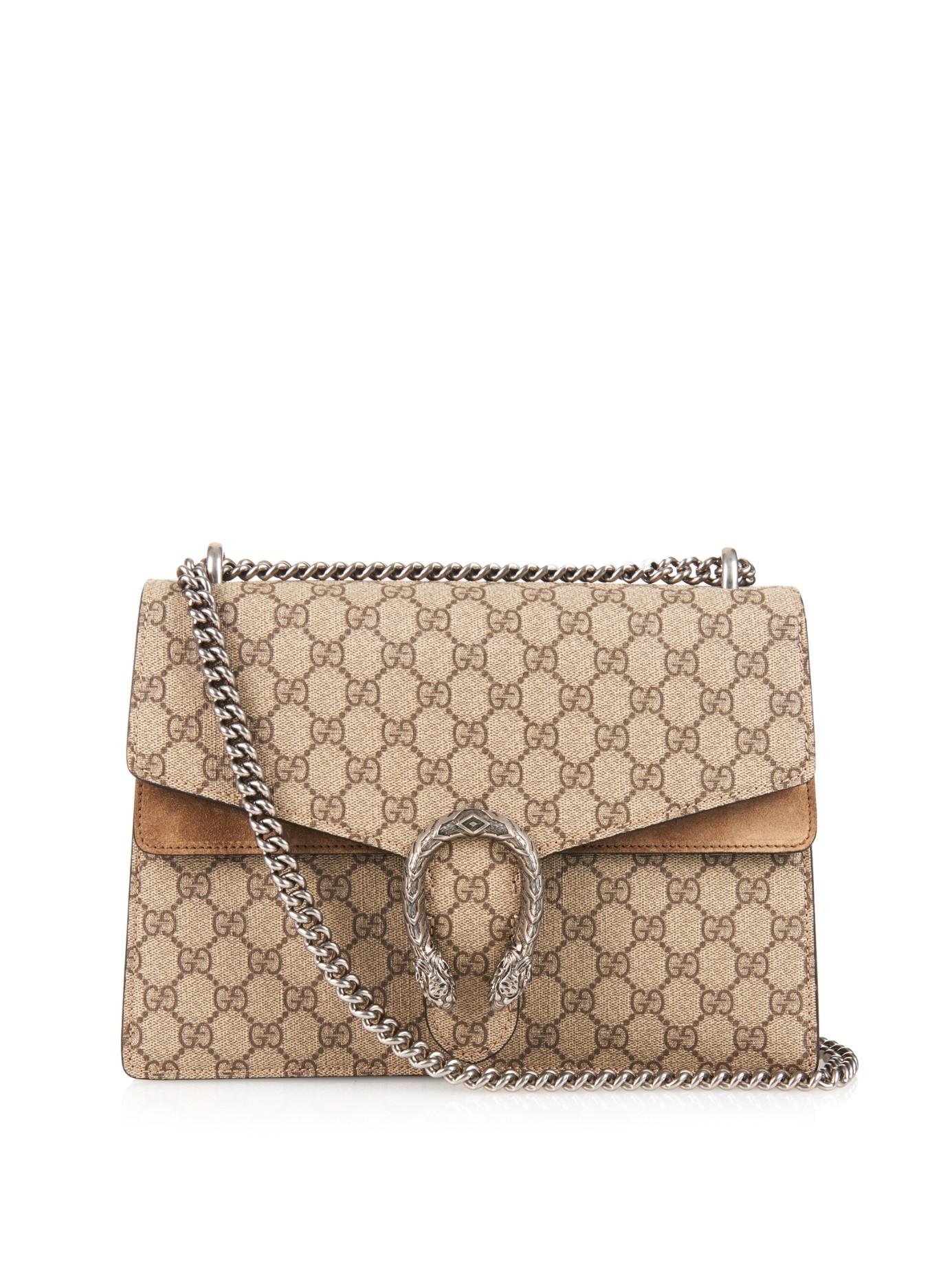 5ede3d7623337d Gucci Dionysus Gg Supreme Canvas Shoulder Bag in Natural - Lyst