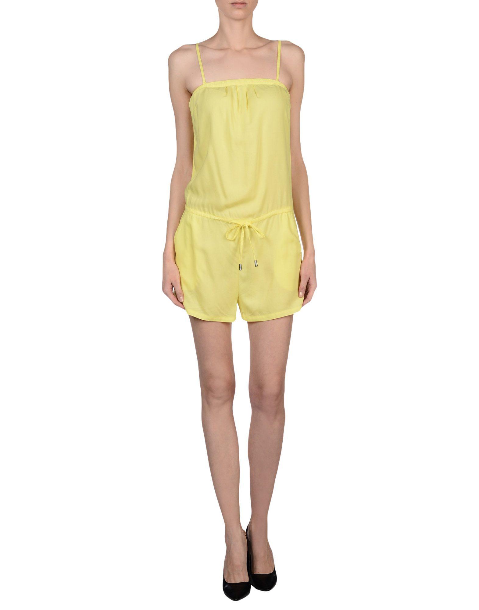 Elegant 70s Jumpsuit Bright Yellow Pants Romper Playsuit Womens Vintage Sprin
