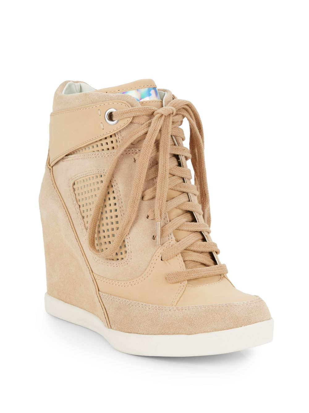 6c98645e734 Lyst - French Connection Marla Suede   Leather Wedge Sneakers in Natural