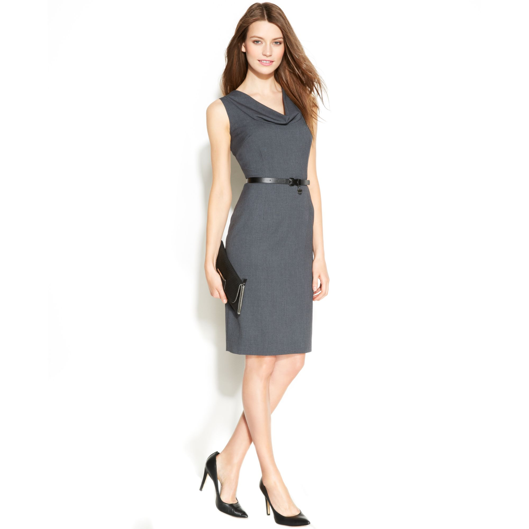 Calvin klein Sleeveless Belted Sheath Dress in Black ...
