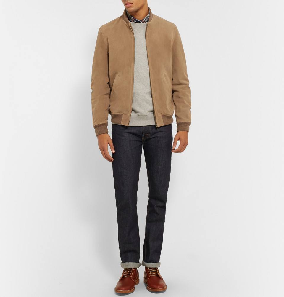A P C Louis W Ferris Suede Bomber Jacket In Brown For