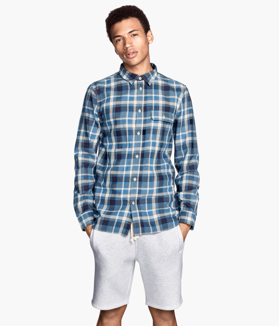 H M Checked Cotton Shirt In Blue For Men Dark Blue Lyst