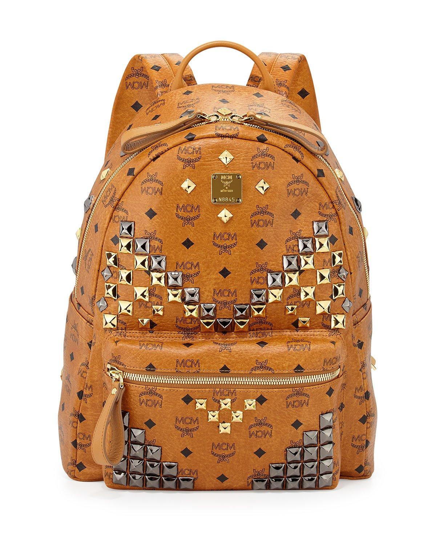 mcm stark m stud medium backpack in natural for men lyst. Black Bedroom Furniture Sets. Home Design Ideas
