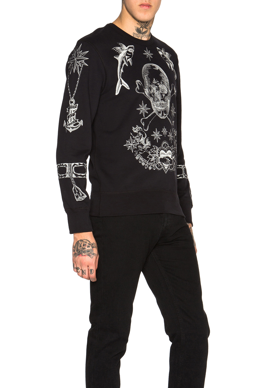 alexander mcqueen embroidered skull cotton sweatshirt in black lyst. Black Bedroom Furniture Sets. Home Design Ideas
