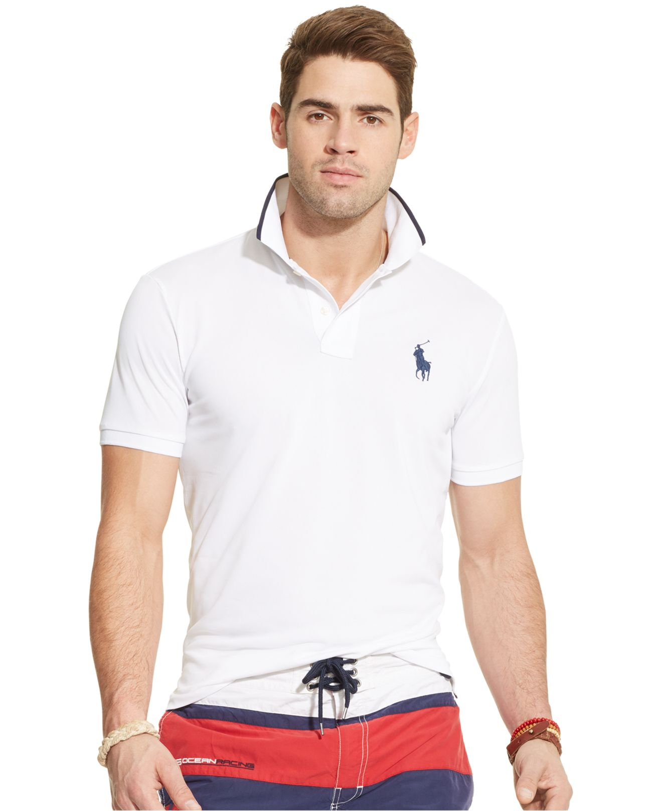 lyst polo ralph lauren performance mesh polo shirt in white for men. Black Bedroom Furniture Sets. Home Design Ideas