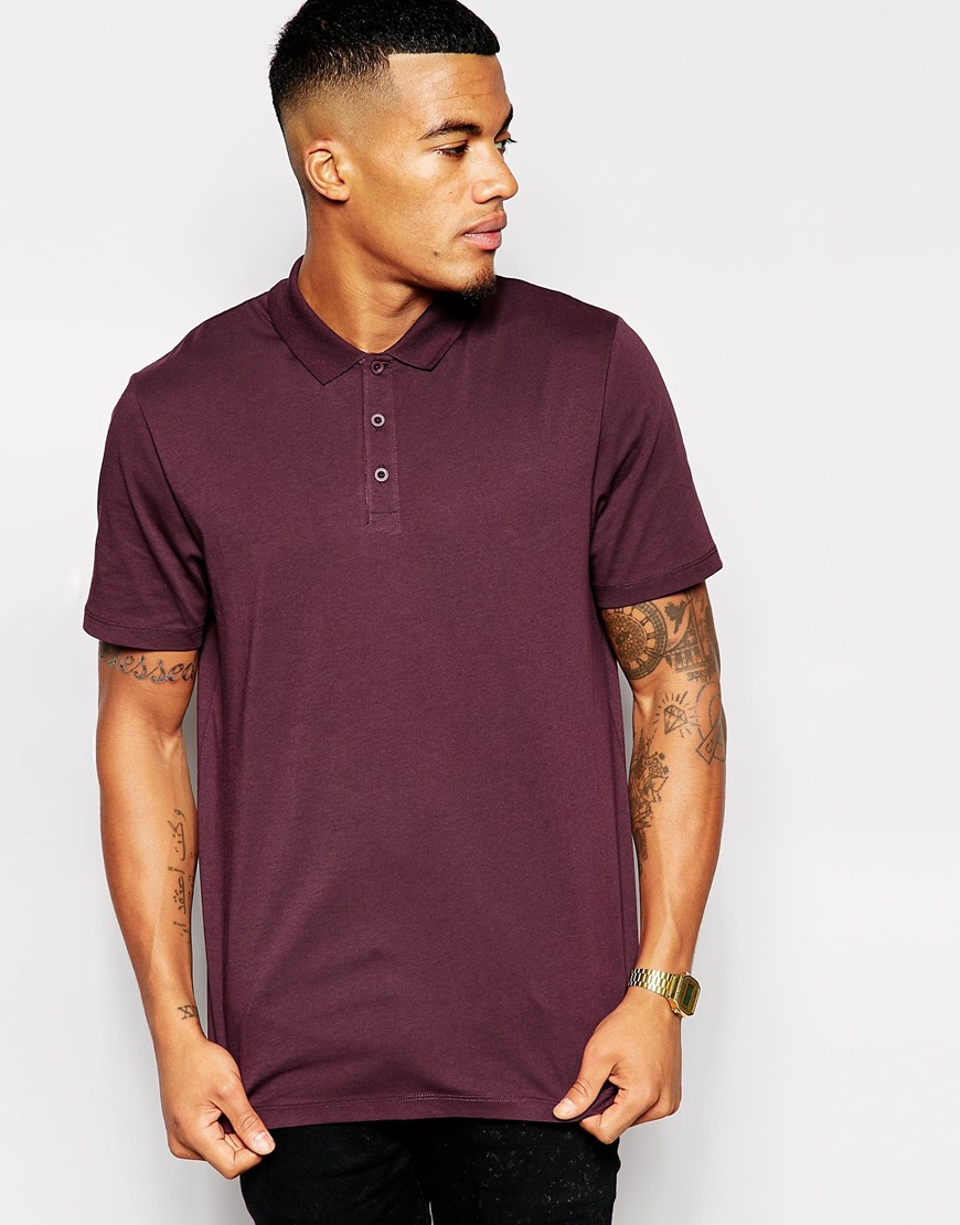 Lyst Asos Polo Shirt In Purple For Men