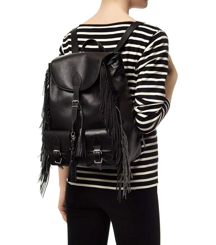 yves saint laurent black leather fringed festival backpack