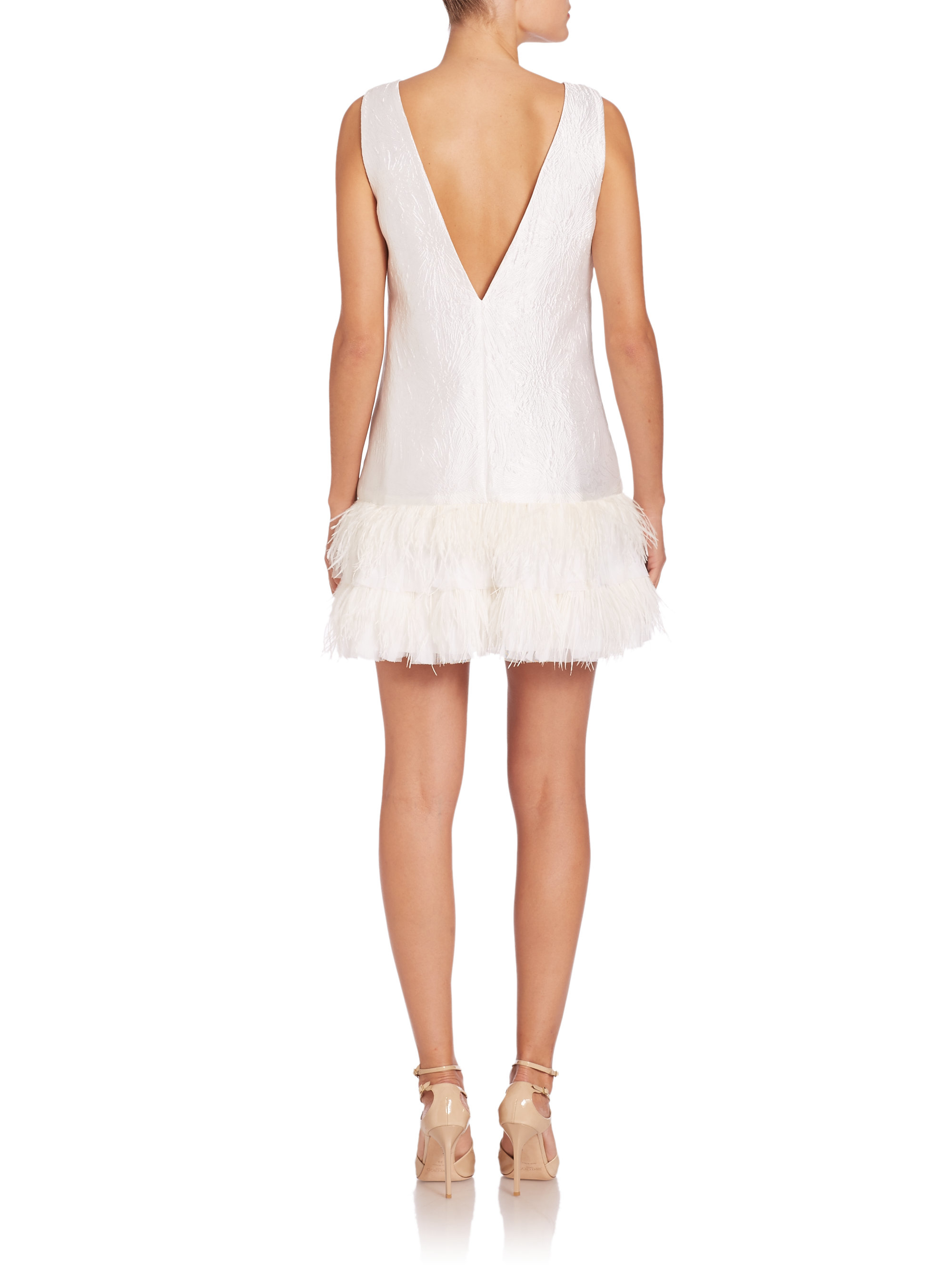 Lyst Bcbgmaxazria Ostrich Feather Hem Dress In White