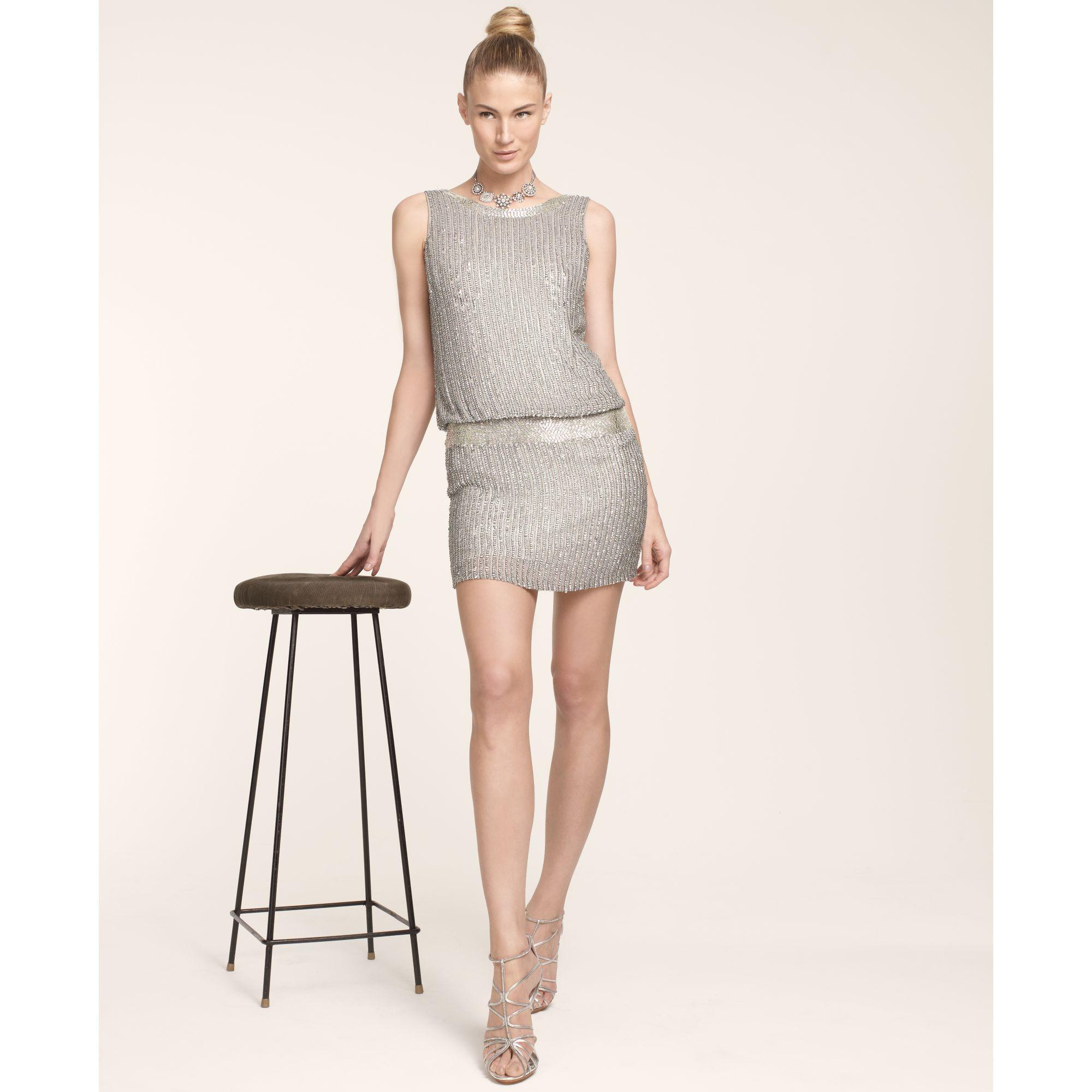 Lyst - Adrianna Papell Sleeveless Beaded Blouson Dress in Gray