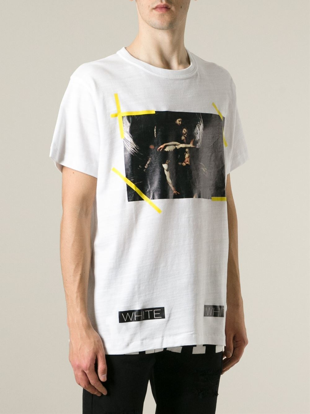 lyst off white c o virgil abloh caravaggio print t shirt in white for men. Black Bedroom Furniture Sets. Home Design Ideas