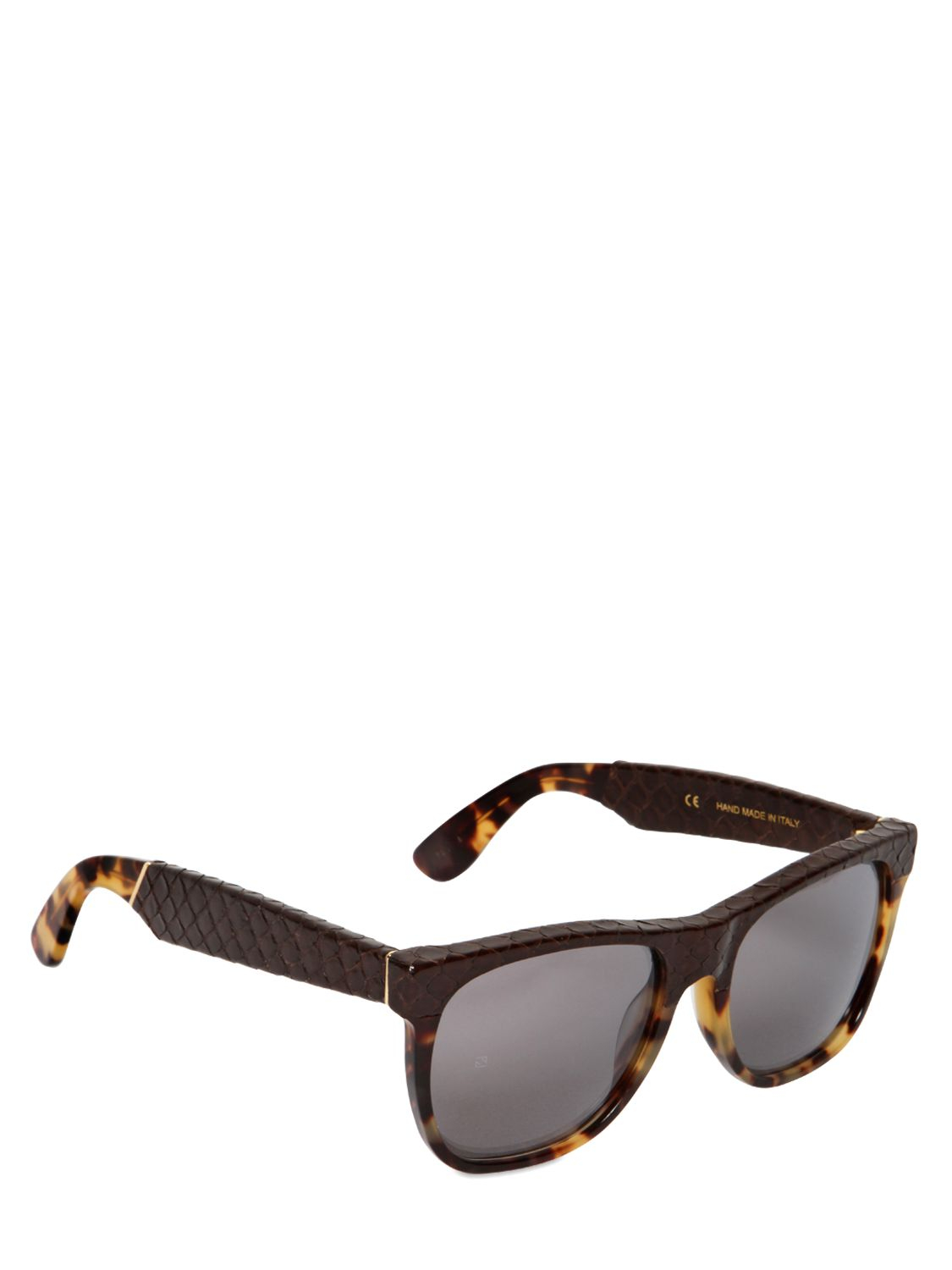 Retrosuperfuture Classic Snake Printed Leather Sunglasses in Tortoise/Brown (Brown) for Men