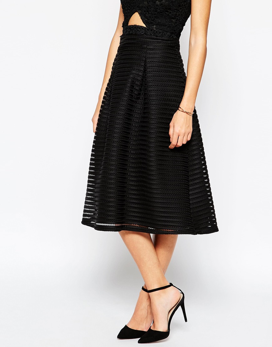 Warehouse Structured Midi Skirt in Black | Lyst
