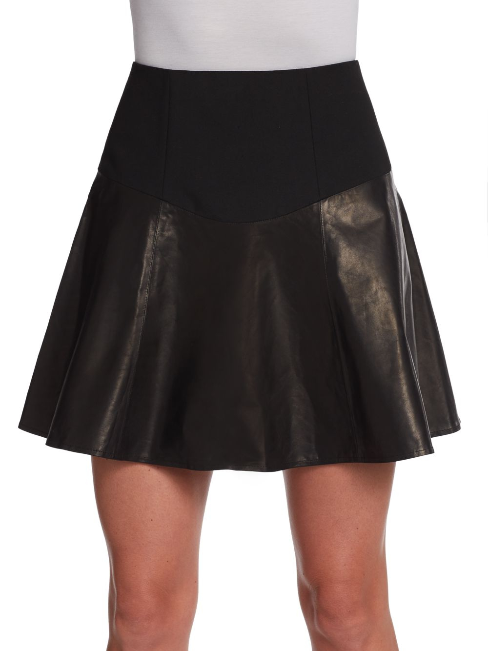 Tibi Flirty Lambskin Leather Flared Skirt in Black | Lyst