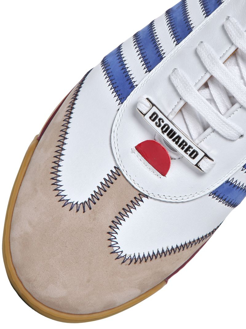 DSquared² New Runner Leather & Suede Sneakers in White/Blue (Blue) for Men