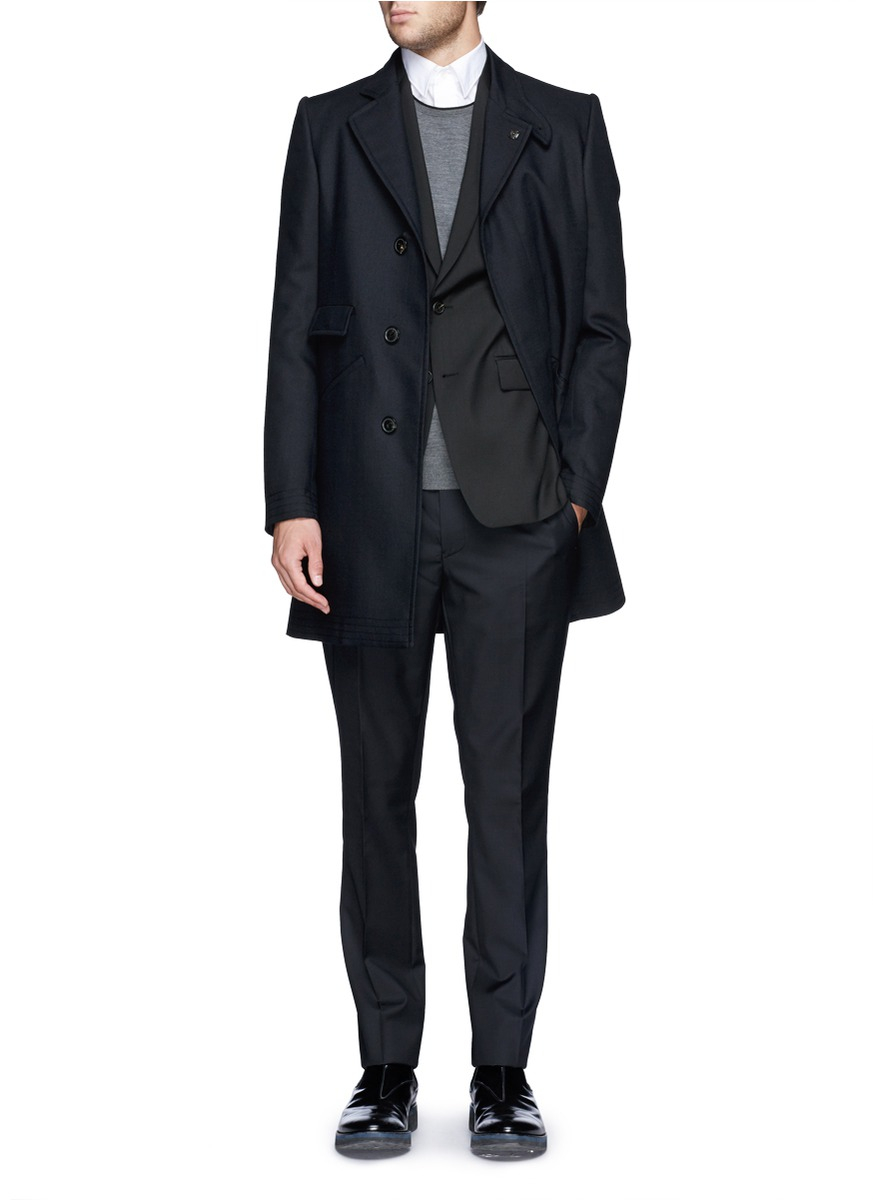 PS by Paul Smith Slim Fit Wool-mohair Pants in Black for Men
