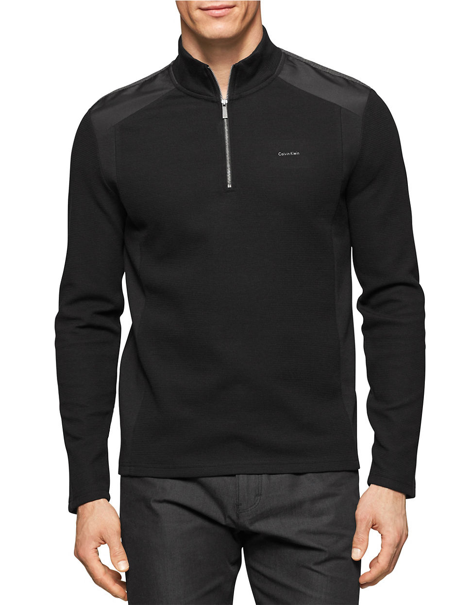 calvin klein quarter zip pullover sweater in black for men. Black Bedroom Furniture Sets. Home Design Ideas