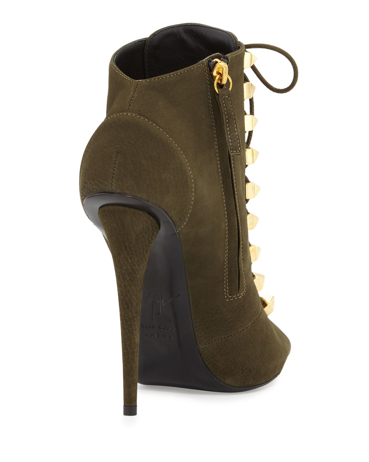 Lyst - Giuseppe zanotti Suede Lace-up High-heel Bootie in Green