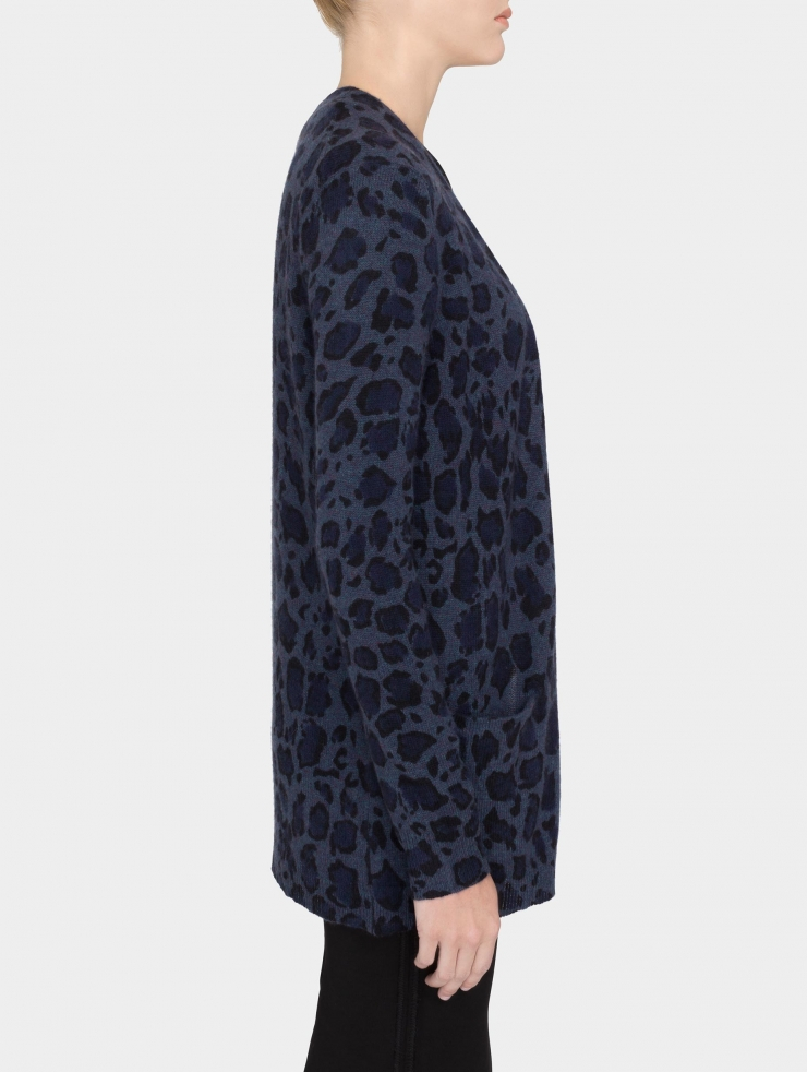 White   warren Cashmere Leopard Print Cardigan in Blue   Lyst