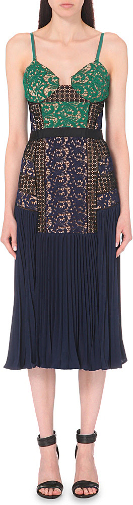 Embroidered Pleated Lace Dress