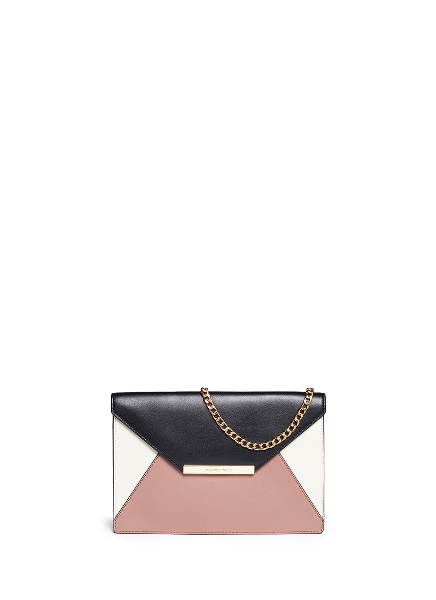 0885c391b72cc Lyst - Michael Kors  lana  Colourblock Envelope Leather Clutch in Brown