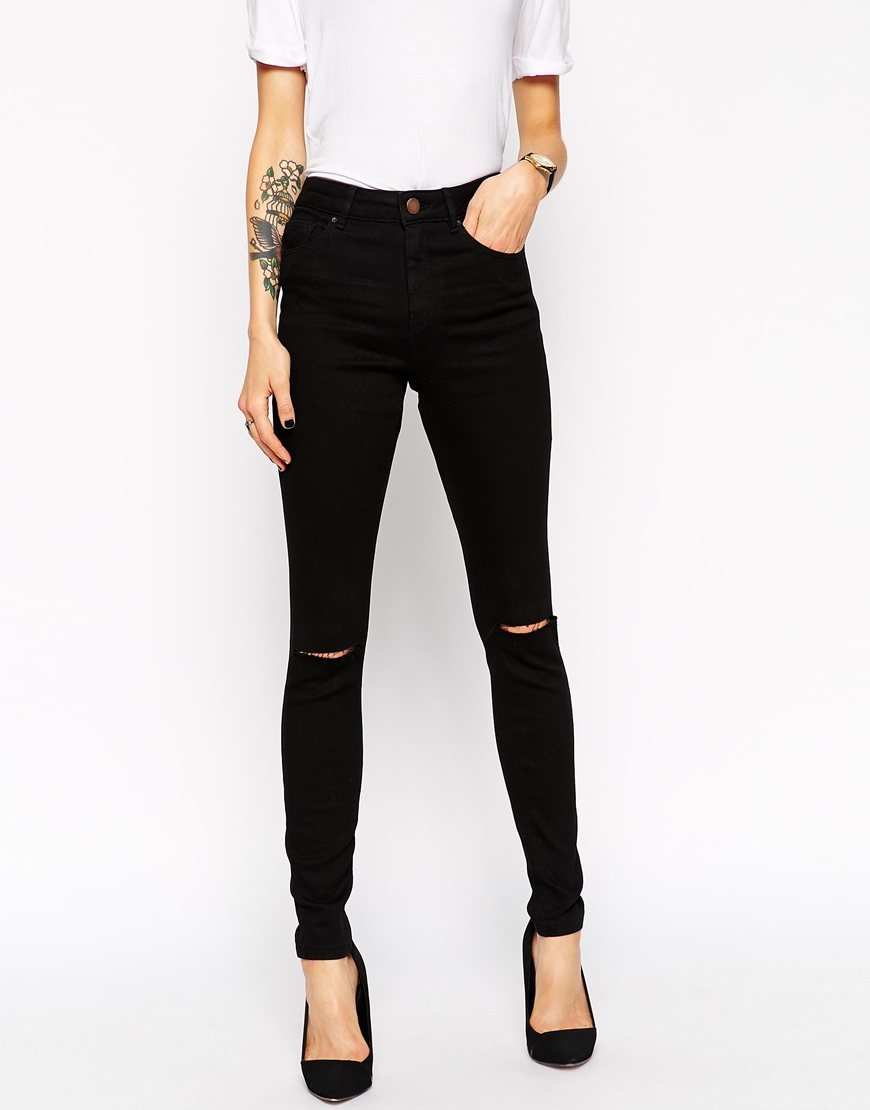 7059544701 ASOS Ridley High Waist Ultra Skinny Jeans In Clean Black With Knee ...