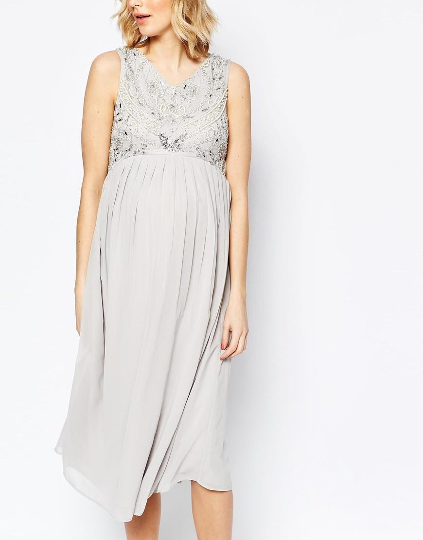 14f2f258b99d1 Maya Maternity Bead Embellished Bodice Midi Dress in Gray - Lyst