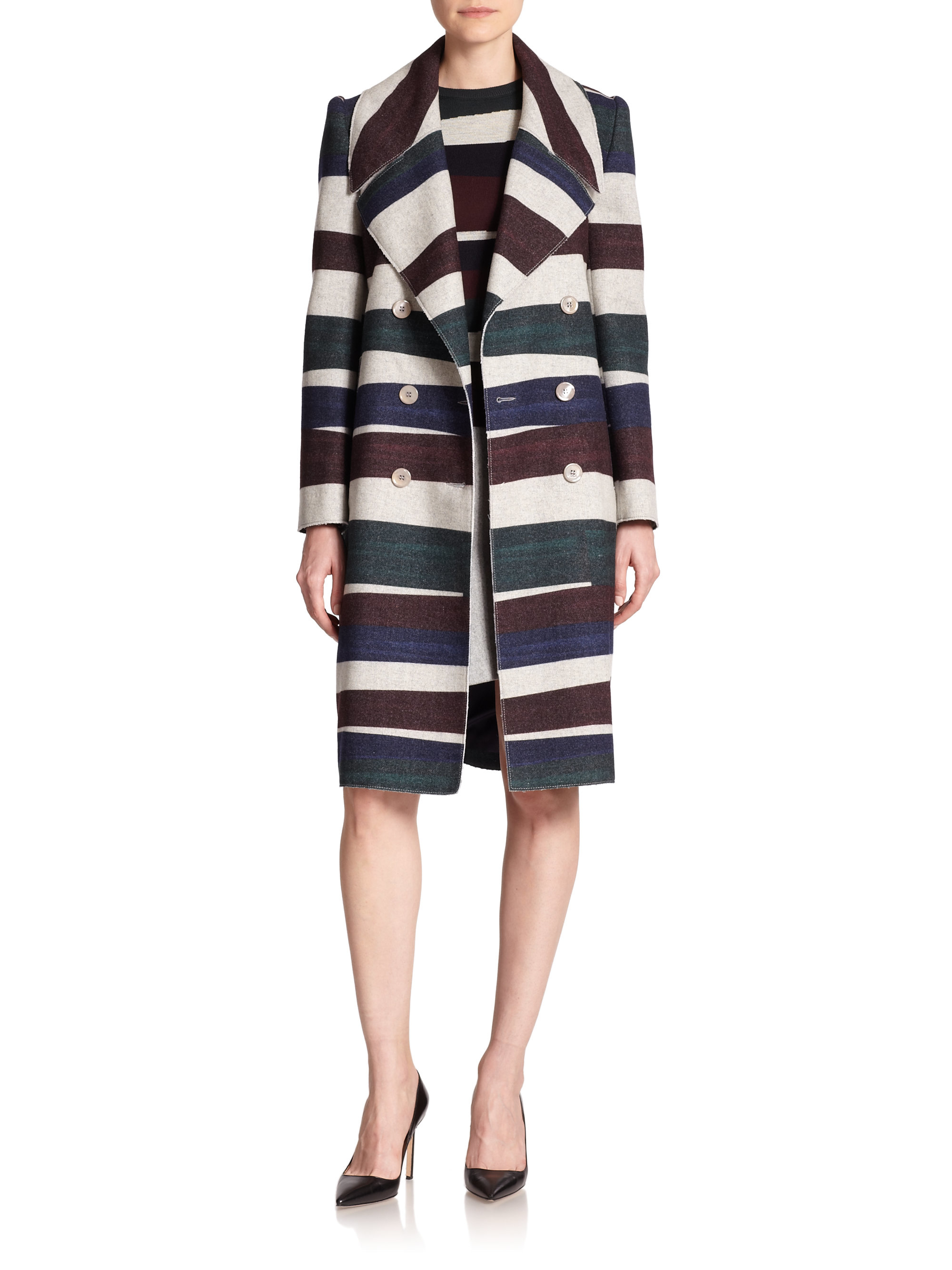 Carven Striped Wool Trenchcoat | Lyst